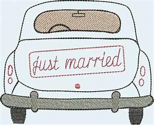 Hochzeitsgeschenk Bilderrahmen Auto : stickdatei stickmuster just married stickdateien ~ Eleganceandgraceweddings.com Haus und Dekorationen
