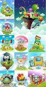 Vectoriales Photoshop Hermosos Vectores Infantiles Con Casas Autos Animales Y