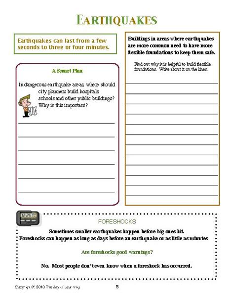 earthquakes worksheet worksheets for all and