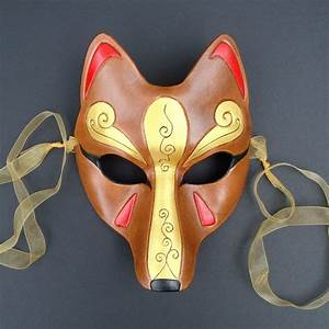 Brown and Gold Kitsune Mask...Handmade Leather Japanese Fox
