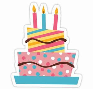 """""""Retro birthday cake with candles sticker"""" Stickers by"""