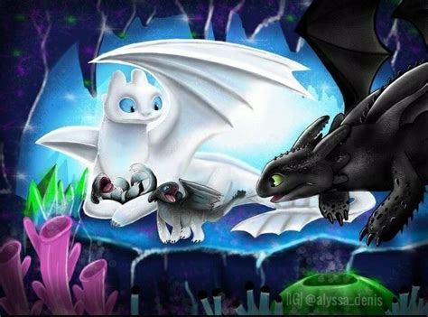Toothless And Light Fury With Their Baby Night Light