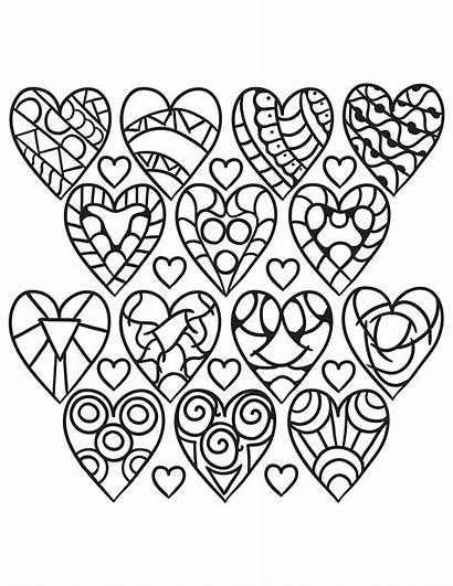 Coloring Hearts Pages Adults Pattern Heart Printable