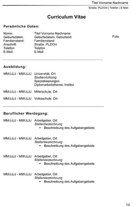 Lebenslauf Tabellarisch Muster 2016 by Muster Lebenslauf Word Muster Lebenslauf 214 Sterreich 2016