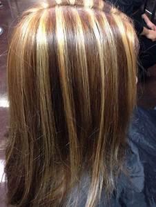 Dark Brown Hair With Golden Blonde Highlights HairStyle