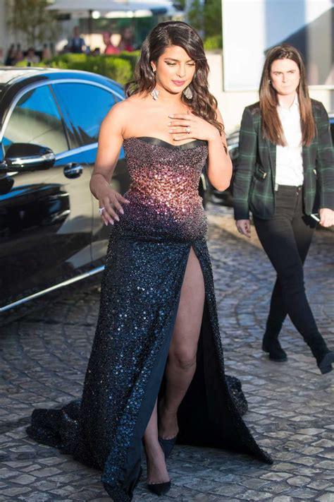priyanka chopra   long dress arrives   martinez hotel  cannes  celebslacom