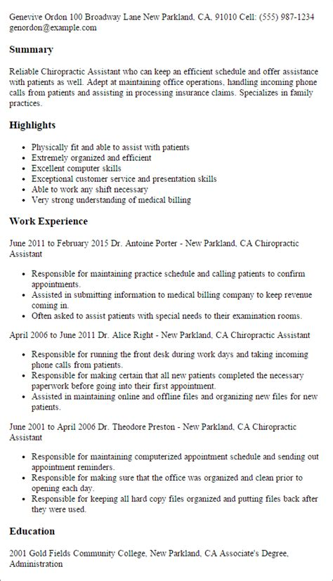 Chiropractic Assistant Resume Sle by Professional Chiropractic Assistant Templates To Showcase