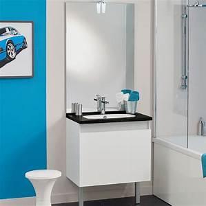 Grand Meuble Salle De Bain : meuble vasque salle de bain 1 grand tiroir avec miroir et applique led teo 1 tiroir chene vert ~ Teatrodelosmanantiales.com Idées de Décoration
