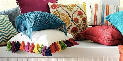 pier  inspired bright colored tassel pillow