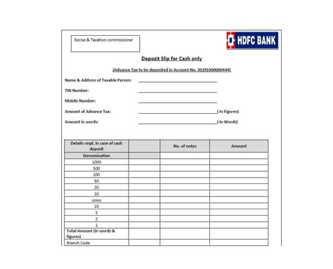 cash deposit slip template templates  printable