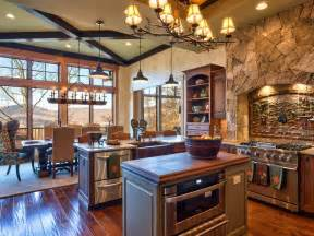 rustic cabin kitchen ideas an open transitional design creates easy flow between the kitchen and dining areas from