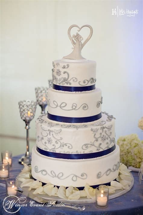 buttercream wedding cake  silver piped detail