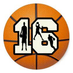 sweet 16 favor ideas number 16 basketball and players classic sticker
