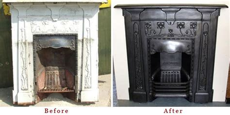 painting cast iron fireplace white restoring a period fireplace