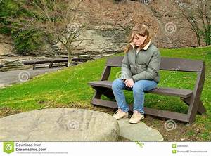 Sad Girl On Bench Stock Photo - Image: 33856080