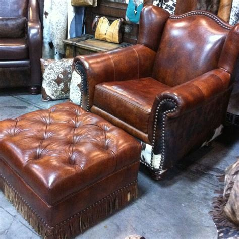 Western Cowhide Furniture by Western Chair Ottoman W Cowhide Leather Ebay