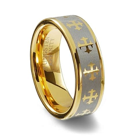 tungsten wedding rings gold colored tungsten carbide laser designed cross ring