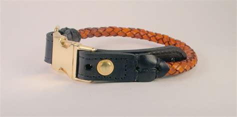 braided leather dog collar  custom hand  leather collar