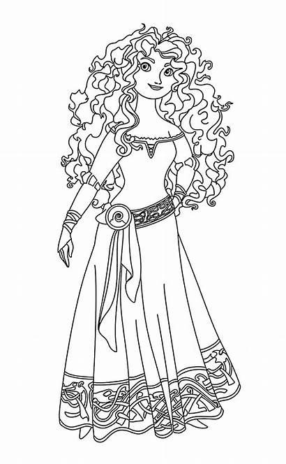 Coloring Princess Disney Merida Brave Printable Colorir