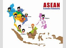 Map of Asean AEC stock vector Image of flag, cute