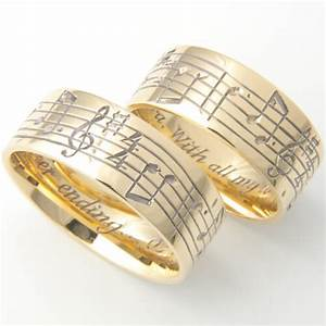 18ct yellow gold musical notes hand engraved wedding rings With music wedding rings
