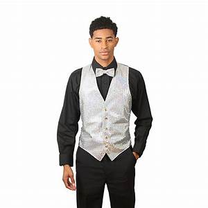 Black With Silver Vest Tie groom tux silver vest silver