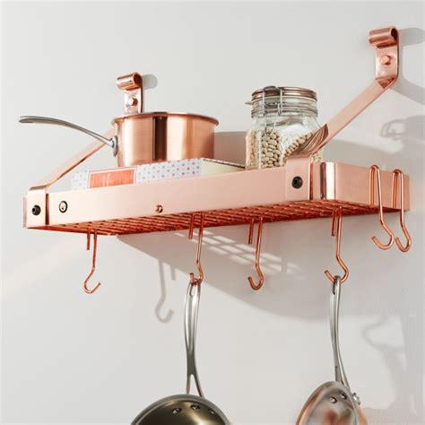 enclume copper bookshelf pot rack crate  barrel