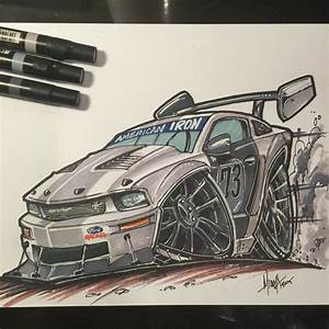 how to draw a Mustang GT - TIME LAPSE