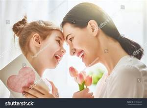 Happy Mothers Day Child Daughter Congratulates Stock Photo ...