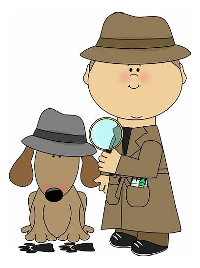 Detective Magnifying Glass Clues Clipart Investigating Dog