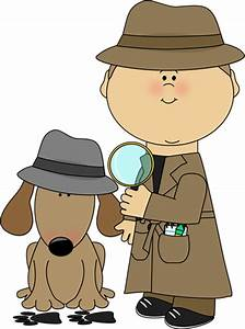 Detective and Dog Investigating Clues Clip Art - Detective ...