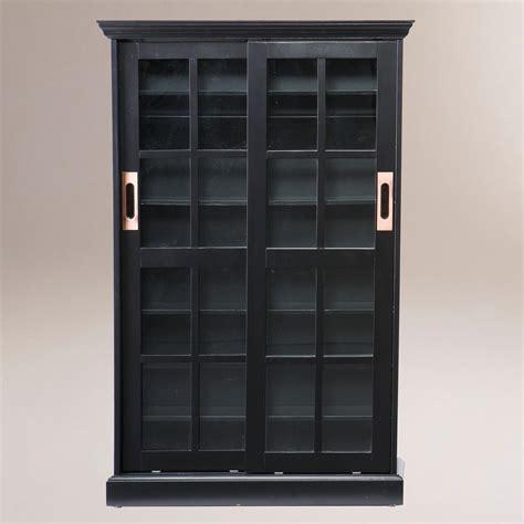 black bookcase with doors black sliding door bookcase and media cabinet world market