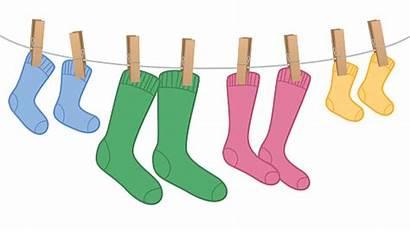 Socks Clothes Line Sizes Different Children Colors