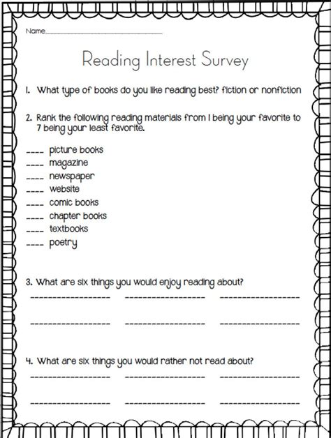Best 25 Reading Interest Survey Ideas On Pinterest Interest Survey Reading Interest - free reading survey for elementary students 1000 ideas about student survey on pinterest