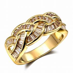 lord of the rings woven style women cz party rings 18k With real gold wedding rings