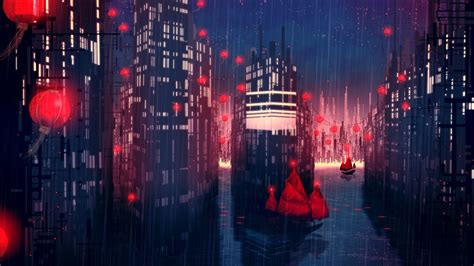 rain city artwork fantasy art concept art boat red