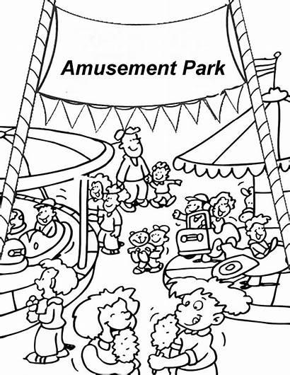 Coloring Park Amusement Pages Fair Carnival Clipart