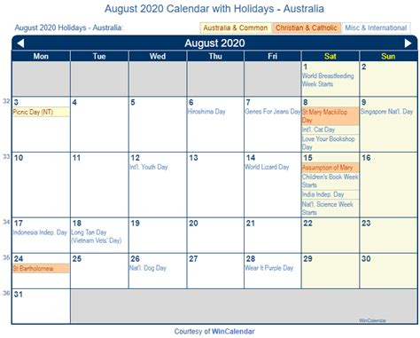 print friendly august australia calendar printing