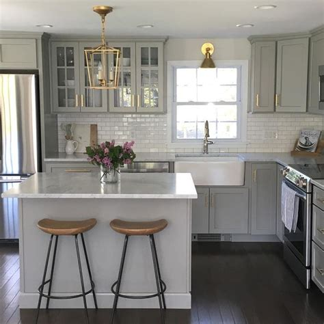 kitchen island length gray kitchen features gray shaker cabinets adorned with