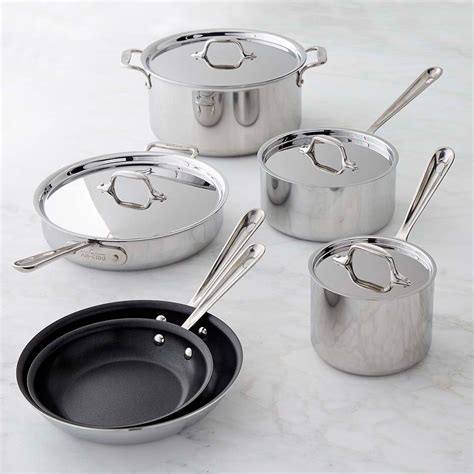 clad tri ply stainless steel nonstick  piece cookware set williams sonoma ca