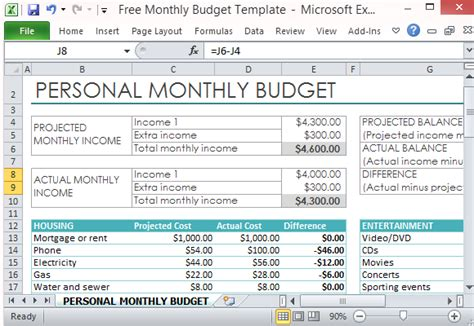 personal monthly budget template  excel