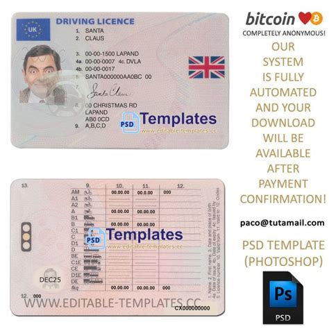uk driving licence template frontback  images