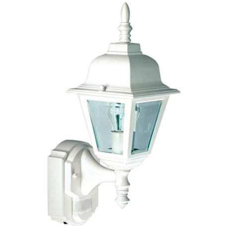country cottage white outdoor motion sensor wall light