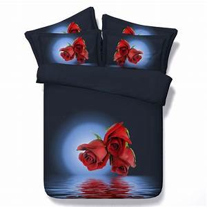 Buy Red rose black 3d queen size modern duvet covers ...