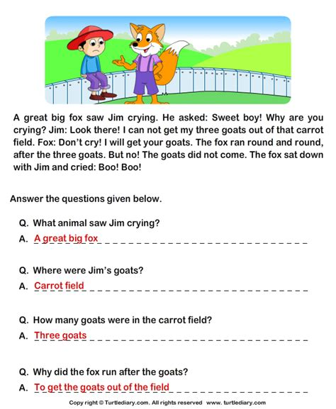 read comprehension jim and his goats and answer the
