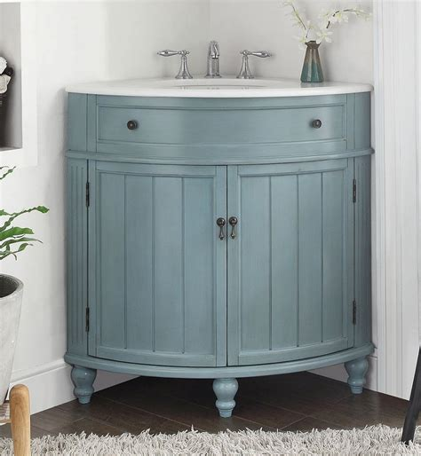 light blue thomasville corner bathrrom sink vanity