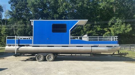 Pontoon Boats With Cabins For Sale by 32 Pontoon Boat W Trailer Cabin 350 Chevy Inboard