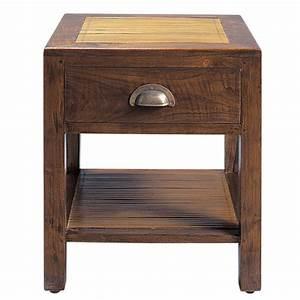 Chevet Maison Du Monde : table de chevet avec tiroir en teck massif l 40 cm bamboo maisons du monde ~ Teatrodelosmanantiales.com Idées de Décoration