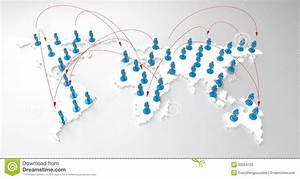Social Network Human 3d On World Map Stock Illustration