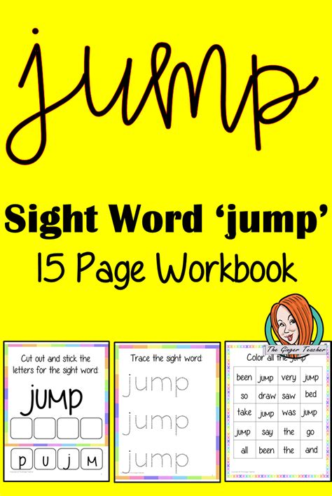 sight word jump  page workbook  images sight